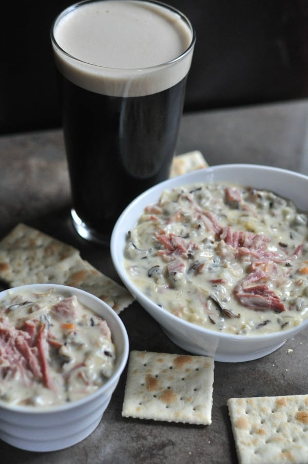 Corned Beef Wild Rice Soup is a St. Patrick's Day twist on the Minnesota classic. Creamy wild rice soup made with Guinness corned beef and sauerkraut. http://diningwithalice.com/soup/corned-beef-wild-rice-soup/