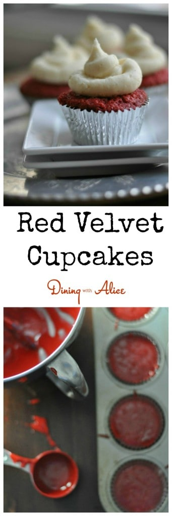 Simple Red Velvet cupcakes with cream cheese frosting Recipe here: http://diningwithalice.com/comfort-foods/red-velvet-cupcakes/ #redvelvet #redvelvetcupcakes