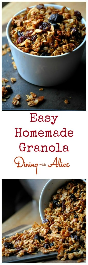 Easy Homemade Granola in less than an hour with just oats, nuts, honey, oil and dried fruit. #granola #breakfast