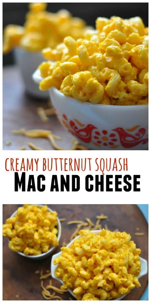 Super easy and creamy Butternut Squash Mac and Cheese made with frozen squash and loved by kids. http://diningwithalice.com/comfort-foods/macandcheese/