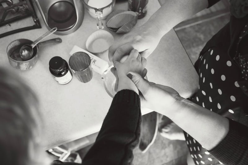 Holding Hands Cooking