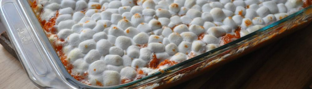Caramel Sweet Potatoes with Marshmallows