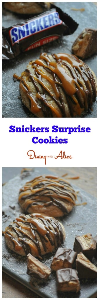 #Snickers Surprise #Cookies by Dining with Alice peanut butter cookies with Snickers inside drizzled with caramel and dark chocolate. Made with Land O'Lakes Butter. #darkchocolate #caramel #butter