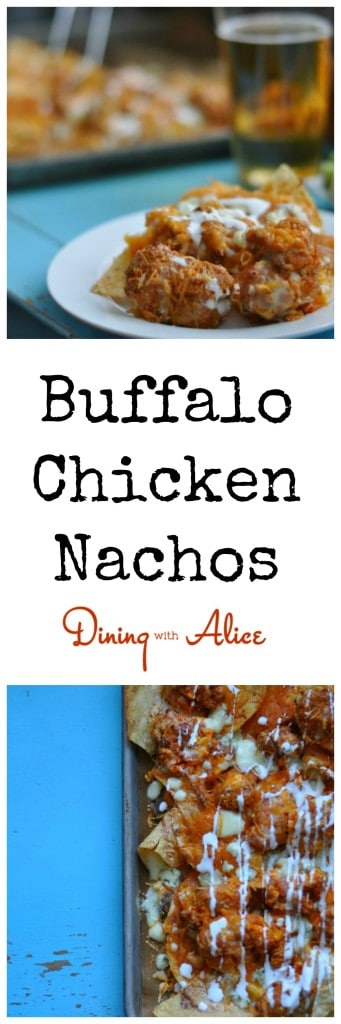 Buffalo Chicken Nachos from Dining with Alice  Game day nachos topped with saucy buffalo popcorn chicken, bacon and four cheeses to make unbeatable Buffalo Chicken Nachos. Check out the easy instructions here: http://diningwithalice.com/appetizers/buffalo-chicken-nachos/ #gameday #nachos #buffalochicken #football