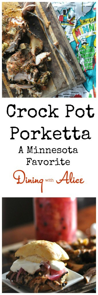 Porketta roast recipe made in your slow cooker with a homemade seasoning. This is Minnesota's favorite Crock Pot meat cooked with fresh fennel, smoked paprika, garlic and Italian seasoning. Here's how to make this Minnesota Classic at home: http://diningwithalice.com/comfort-foods/porketta/