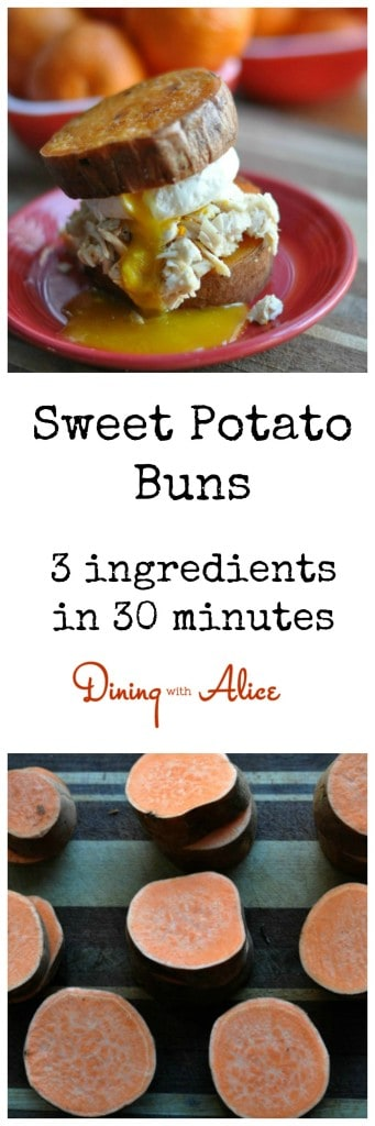 Sweet Potato Buns from Dining with Alice Just 3 ingredients and 30 minutes in the oven for Sweet Potato Buns. A perfect substitute for bread especially those on Whole 30 diets. #whole30 #paleo #glutenfree #sweetpotato