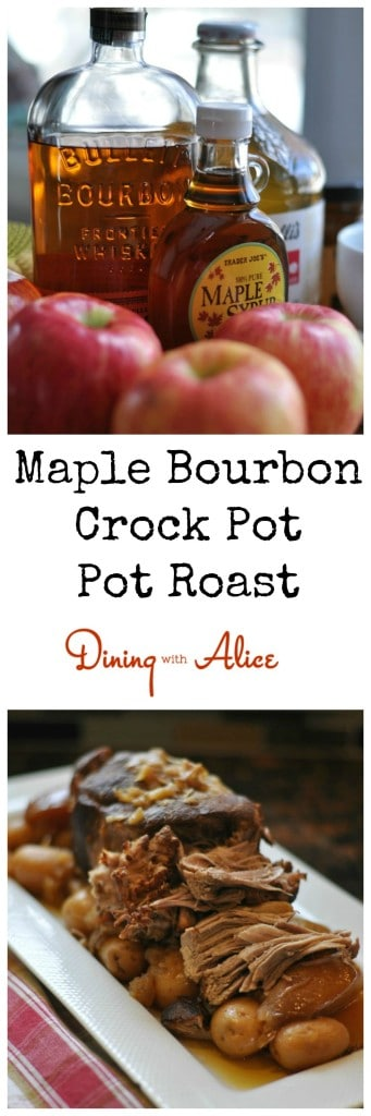 Maple Bourbon Pot Roast made in your crock pot. Recipe here: http://diningwithalice.com/comfort-foods/maple-bourbon-pot-roast/ #apple #bourbon #crockpot #potroast