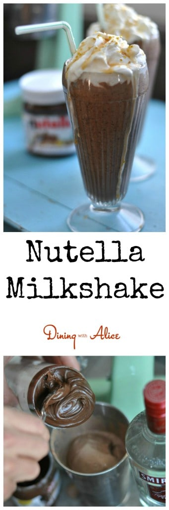 Creamy Chocolate Nutella Milkshake made with Nutella, chocolate milk and ice cream. Made boozy with vodka and creme de cacao. http://diningwithalice.com/desserts/nutella-milkshake/
