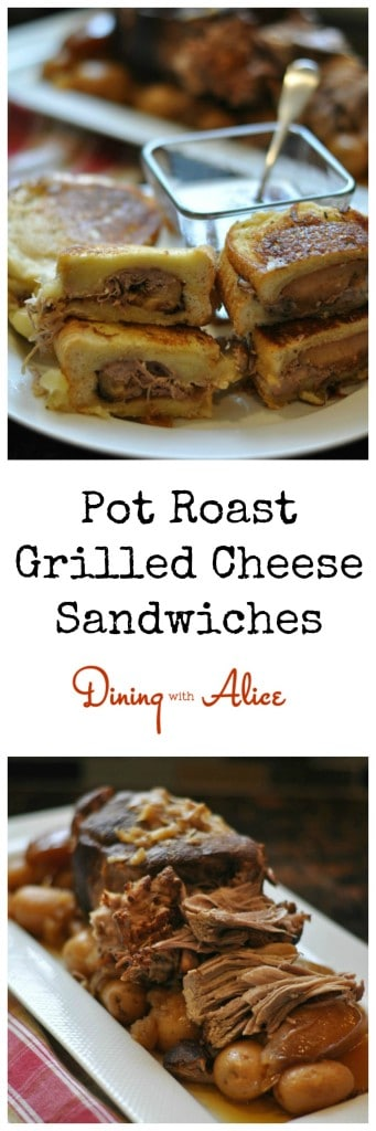 Pot Roast Grilled Cheese Sandwiches Recipe here: http://diningwithalice.com/comfort-foods/pot-roast-gril…ese-sandwiches/  #potroast #grilledcheese #whitecheddar