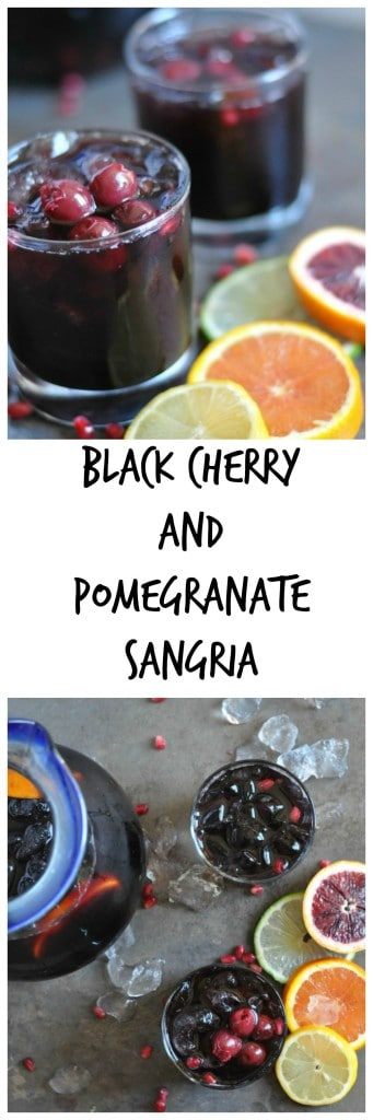 Black Cherry and Pomegranate Sangria by Dining with Alice Super easy sangria made with red wine, juice, fruit and liquor. #sangria #pomegranate #cherry #cocktail