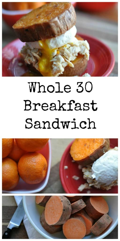Whole 30 Breakfast Sandwich made with sweet potato buns and stuffed with orange chicken and poached eggs #whole30 #paleo