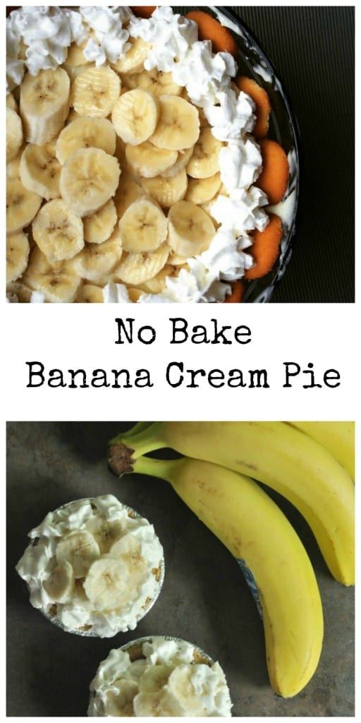 No Bake Banana Cream Pie easy recipe using vanilla pudding.