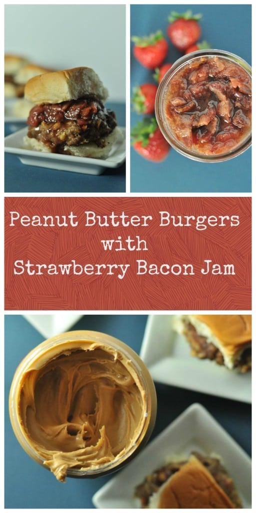Peanut Butter Burgers packed with sweet peanuts and creamy peanut butter, topped with Strawberry Bacon Jam.