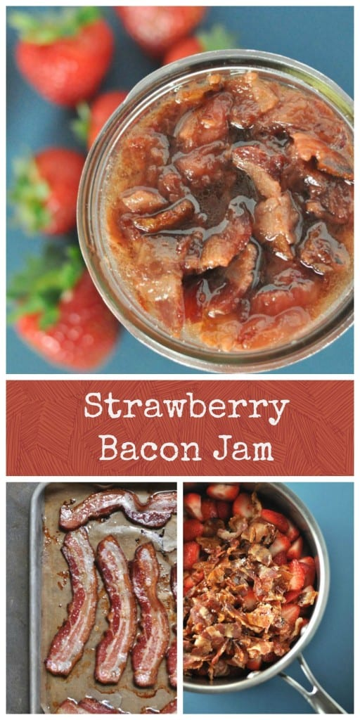 Simple strawberry bacon jam, sweet and savory and perfect for burgers or serving with an appetizer as a sauce.