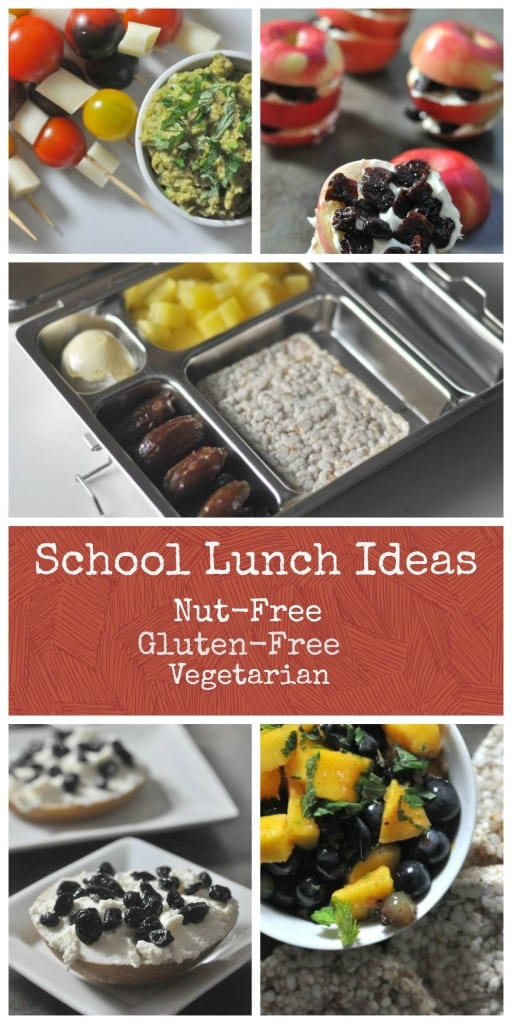 School Lunch Ideas that are nut-free, gluten-free and vegetarian.