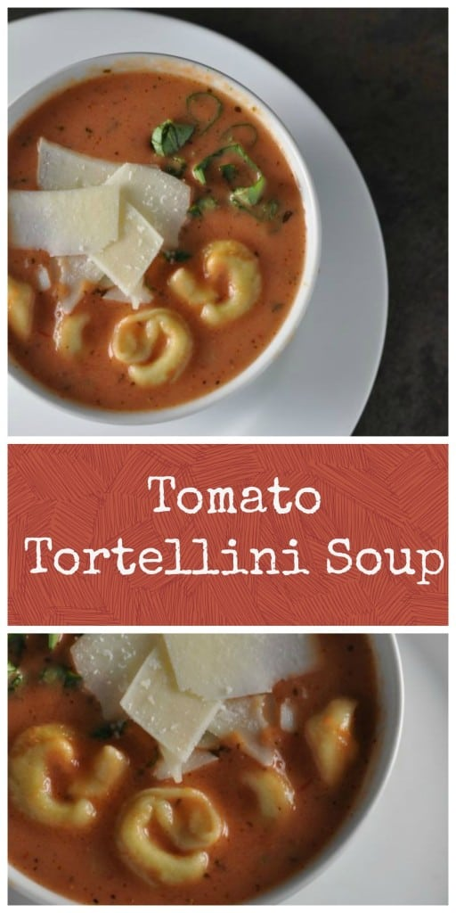 Easy creamy Tomato Tortellini Soup with simple ingredients. #soup #tomato #tomatosoup