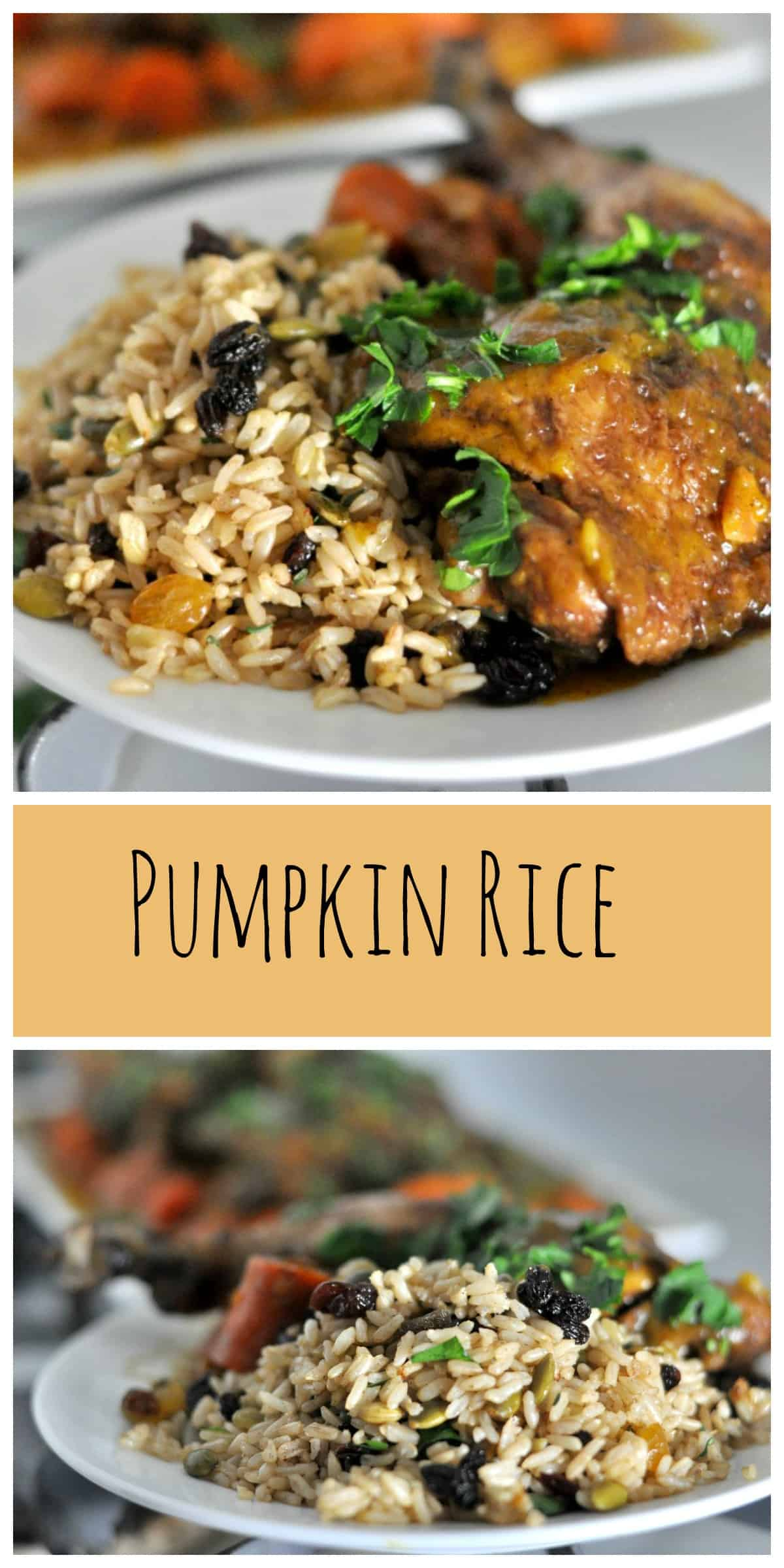 Pumpkin Rice is a perfect side dish filled with pumpkin spice, pumpkin seeds and dried fruit. #fall #pumpkin #chicken #autumn