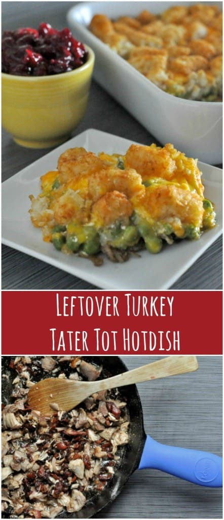 Crispy bacon and cheese turn your turkey leftovers into a casserole your whole family will love, Leftover Turkey Tater Tot Hotdish!