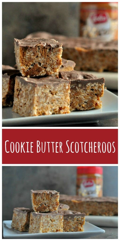 Cookie Butter Scotcheroos are sweet and chewy bars made with Rice Krispies cereal, Biscoff cookie pieces, Cookie Butter and topped with melted chocolate and butterscotch.  http://diningwithalice.com/desserts/cookie-butter-scotcheroos/