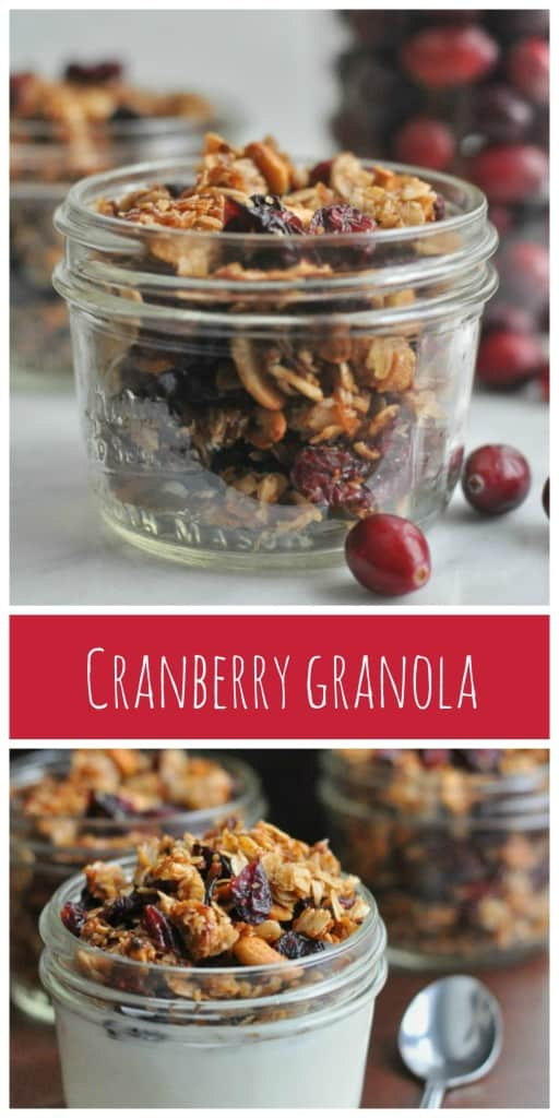 Easy homemade Cranberry Granola made with dried cranberries, winter spices, cashews and cinnamon.