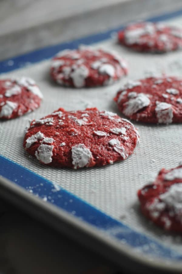 Crispy on the outside and chewy on the inside, these bright Red Velvet Cookies will be the star at your cookie swap and holiday gatherings. An easy and tasty, from scratch recipe, that you will love at Christmas or Valentine's Day. http://diningwithalice.com/desserts/red-velvet-cookies/
