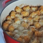 Cheesy Bacon and Chicken Alfredo Tater Tot Hotdish