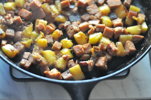 Hawaiian SPAM Skillet Pineapple Mango SPAM Stir-fry Skillet