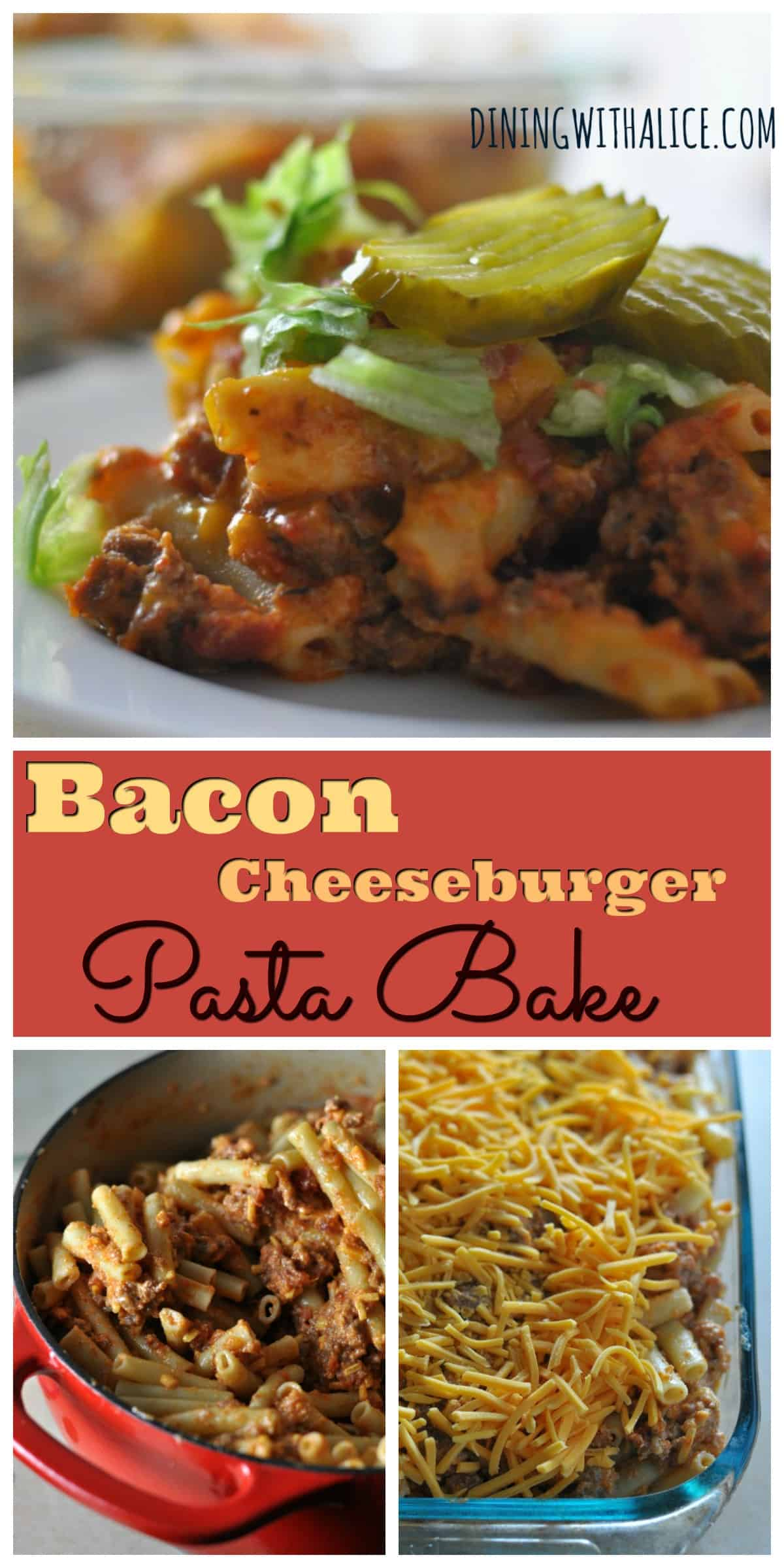 This Bacon Cheeseburger Pasta Bake recipe is an easy and cheesy casserole made with ground beef that is kid-friendly and a perfect family weeknight meal with leftovers.  http://diningwithalice.com/weeknight-meals/bacon-cheeseburger-pasta-bake/
