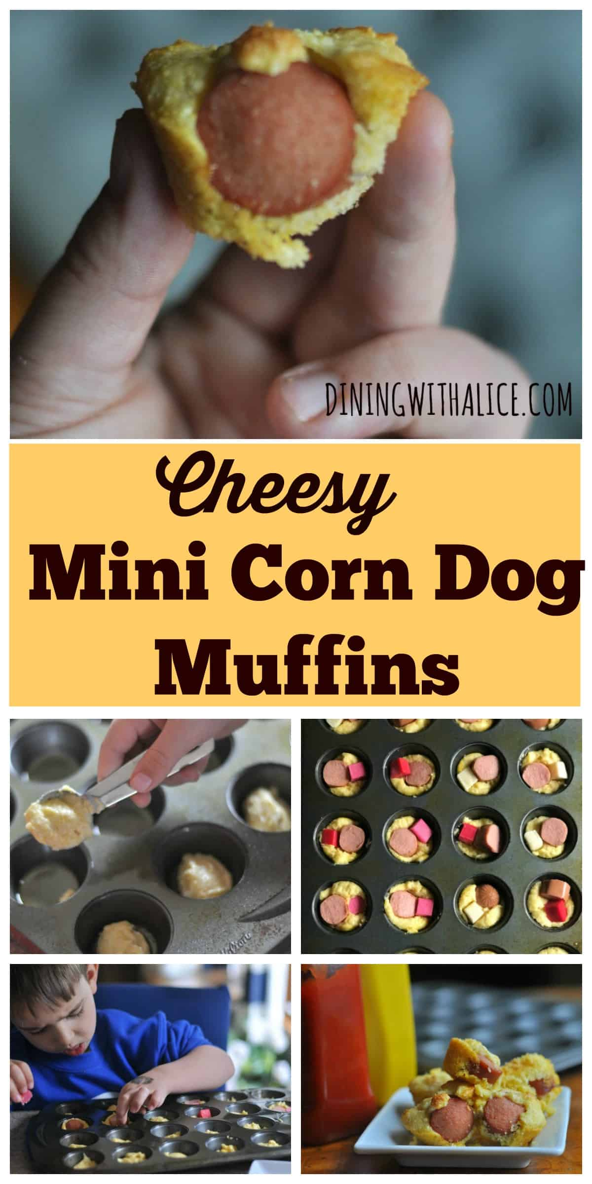 Cheesy Mini Corn Dog Muffins Simple Recipe A super easy Cheesy Mini Corn Dog Muffins recipe that makes a great weeknight meal, fun school lunch, or game day appetizer. http://diningwithalice.com/kids/cheesy-mini-corn-dog-muffins/