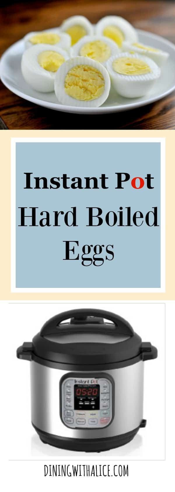 Instant Pot Hard Boiled Eggs Easy Recipe Quick Release A simple recipe for making Instant Pot hard boiled eggs. It's an easy way to make big batches of hard boiled eggs and help with meal planning. This easy recipe makes delicious hard boiled eggs perfect for breakfast, lunch or to use in your favorite Egg Salad or Deviled Egg recipes. http://diningwithalice.com/instant-pot/instant-pot-hard-boiled-eggs/