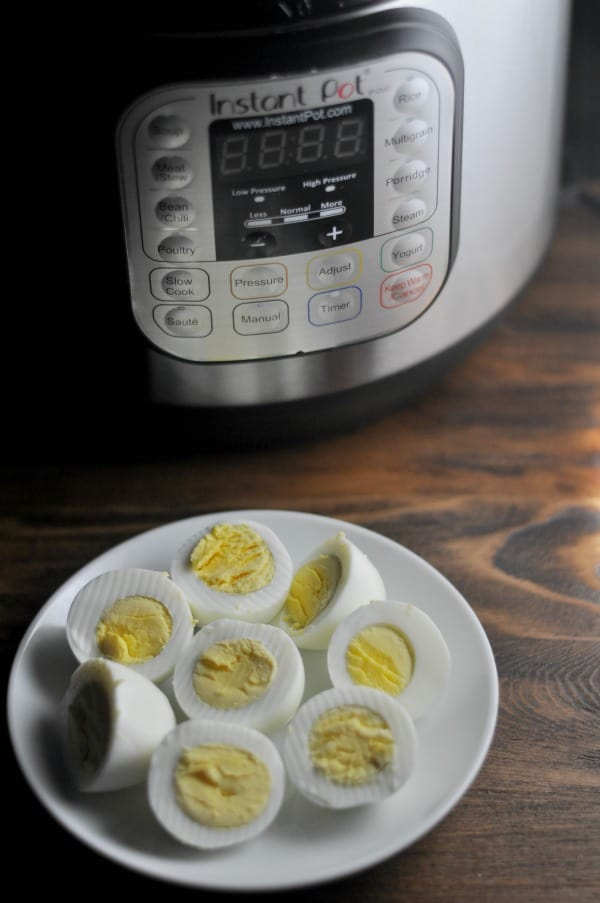 Instant Pot Hard Boiled Eggs Whole 30 A simple recipe for making Instant Pot hard boiled eggs. It's an easy way to make big batches of hard boiled eggs and help with meal planning. This easy recipe makes delicious hard boiled eggs perfect for breakfast, lunch or to use in your favorite Egg Salad or Deviled Egg recipes. http://diningwithalice.com/instant-pot/instant-pot-hard-boiled-eggs/