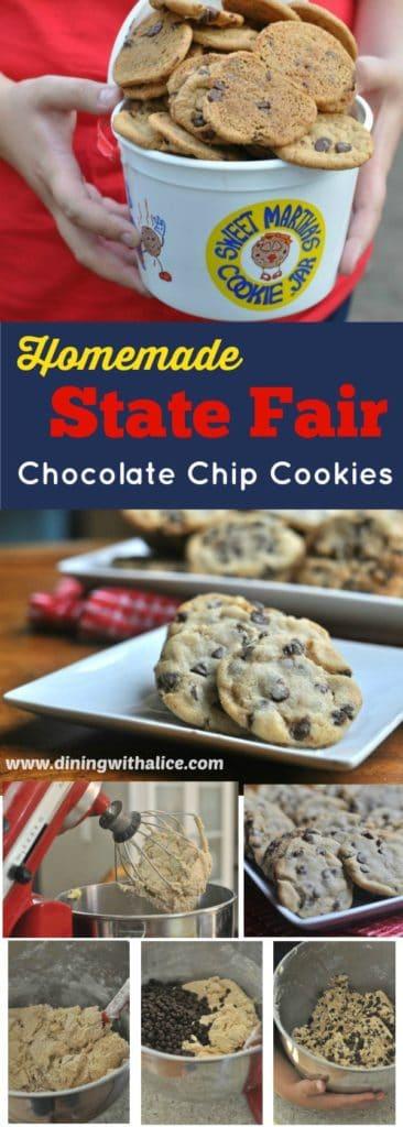 Chewy on the inside and crispy on the outside, these State Fair Cookies are my homemade recipe for the Sweet Martha's Minnesota State Fair cookie favorite! http://diningwithalice.com/desserts/state-fair-cookies/