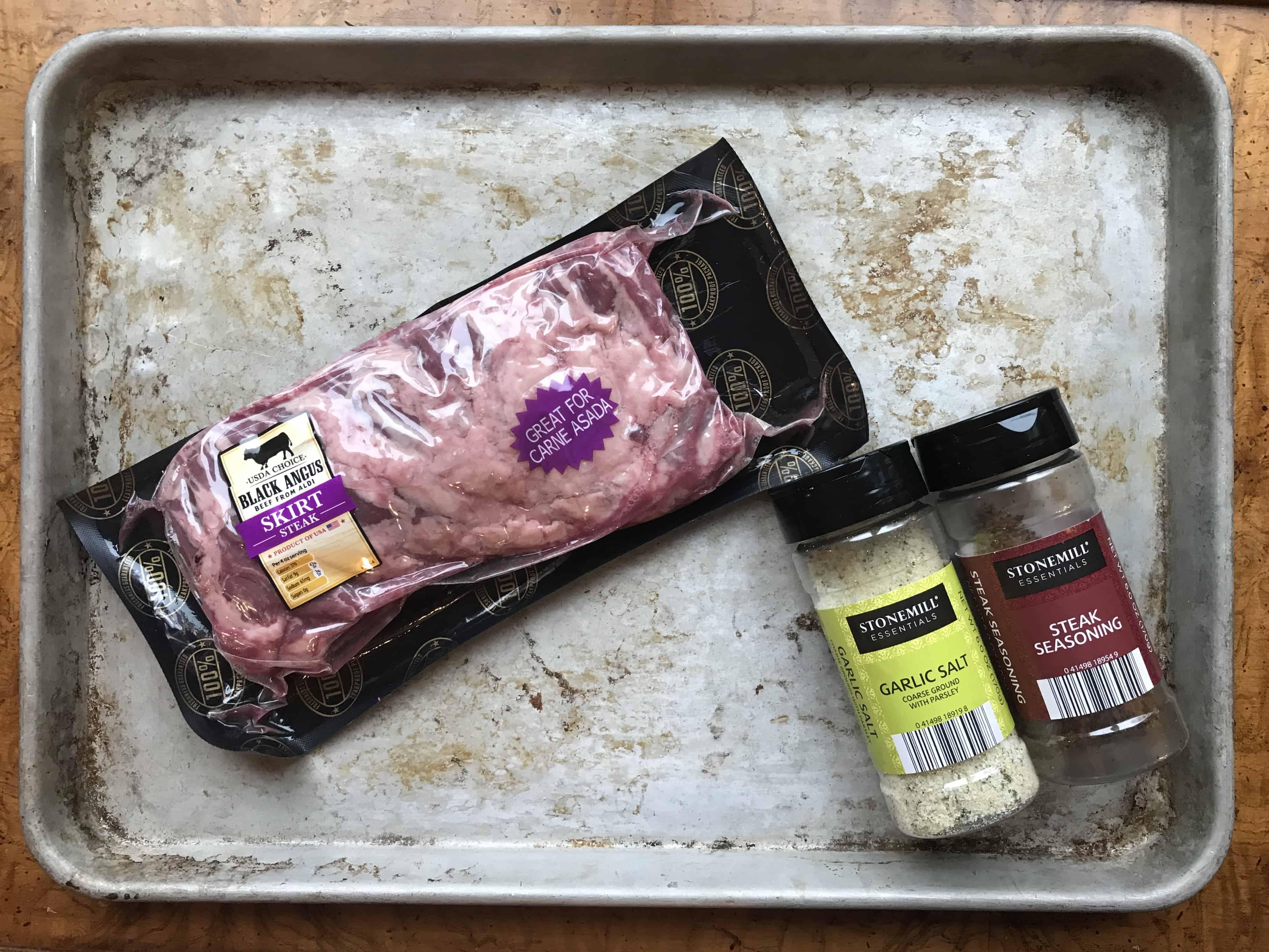 Thai Steak Salad ingredients of skirt steak, garlic salt, and Steak seasoning.