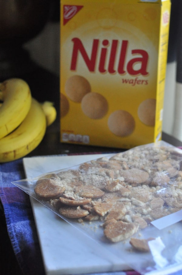 Quick banana pudding recipe displayed with Nilla wafers