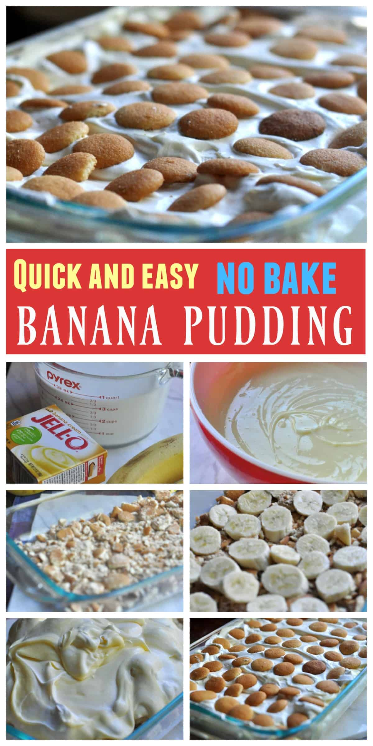 Quick Banana Pudding recipe. Made with Cool Whip, Nilla Wafers, and bananas.