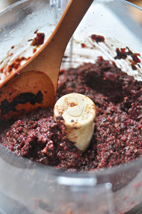Mushroom and Beet Black Bean Burger blended in food processor