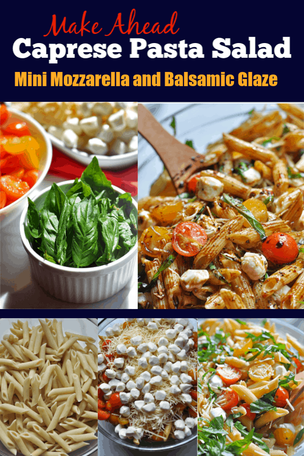 This Caprese pasta salad recipe is an easy make-ahead dish for weeknight dinner or potlucks. Made with basil, mozzarella, tomatoes, and balsamic glaze.