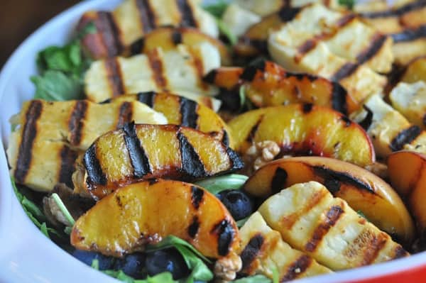 Grilled Peach Salad with Halloumi